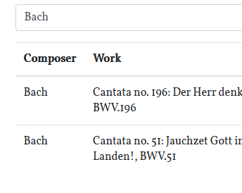 Searching a list of composers and works